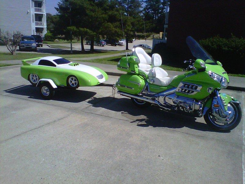 Futuristic racecar motorcycle trailer