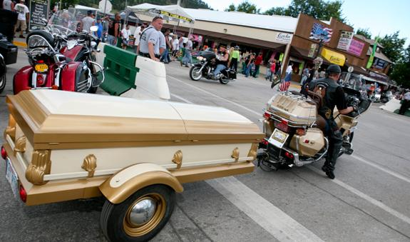 Coffin converted into a motorcycle trailer