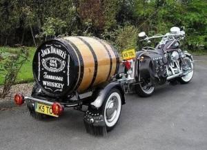 Wood barrel Motorcycle Trailer- jack daniels