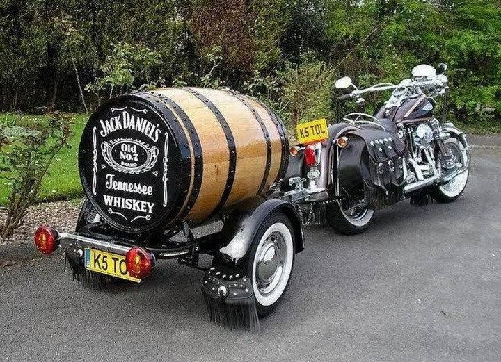 Jack Daniels barrel trailer - custom motorcycle trailer