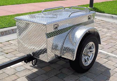 Aluminum Diamond plate box PULL TOW BEHIND in Trailers