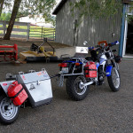 offroad motorcycle with single wheel motorcycle trailer