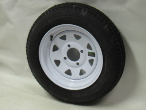 4.80X12 LRC 6 PLY KENDA TRAILER TIRE ON 12inch 4 LUG WHITE SPOKE TRAILER WHEEL