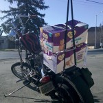 Chopper loaded with baby diapers