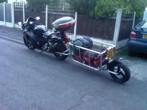 Hayabusa with single wheel motorcycle trailer