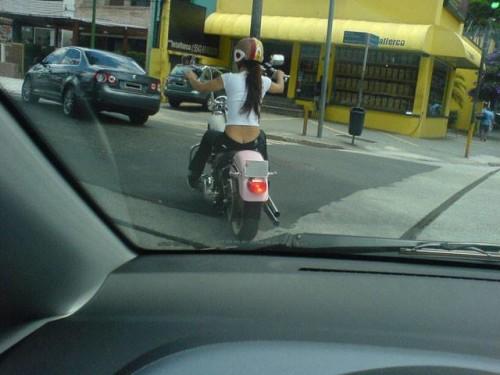 long hair lady biker
