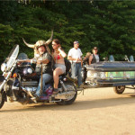 coffin motorcycle trailer with horns