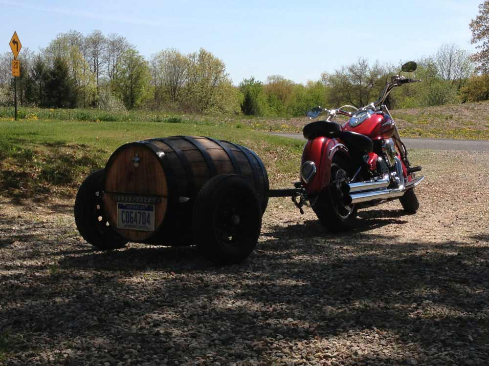 Wood Barrel Motorcycle Trailers