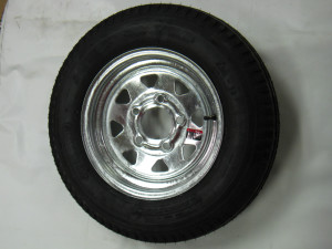 4.80X12 LRC 6 PLY KENDA TRAILER TIRE ON 12 inch 5 LUG GALVANIZED SPOKE WHEEL