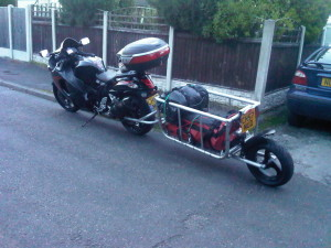 Hayabusa with single wheel motorcycle trailer
