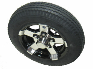 Tire on 12 inch 5 Lug Series 07 Black Aluminum Trailer Wheel